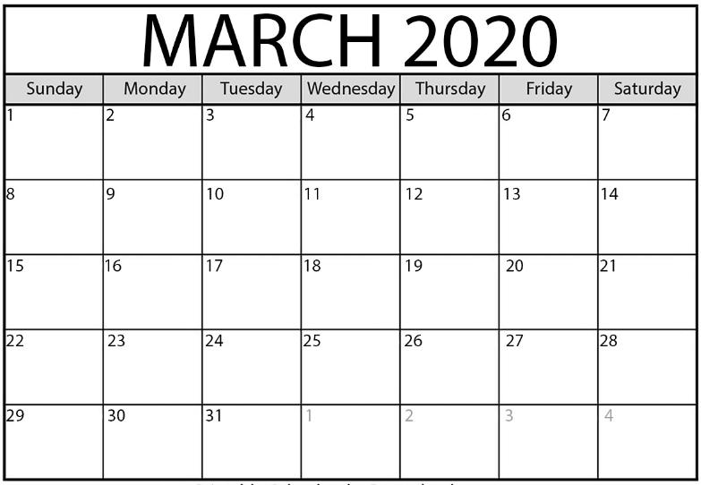 Blank March 2020 Calendar