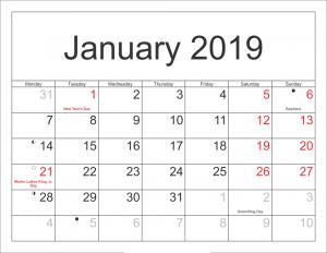 Calendar 2019 January Template