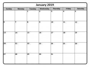 Calendar January 2019 Printable Free