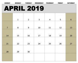 Calendar for April 2019