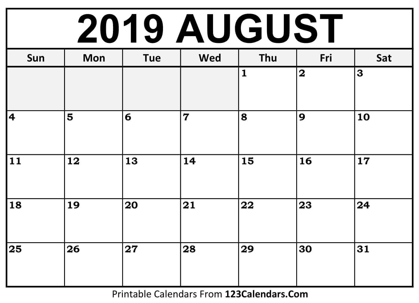 Calendar for August 2019