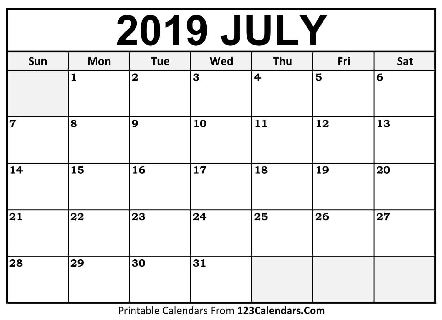 Calendar for July 2019