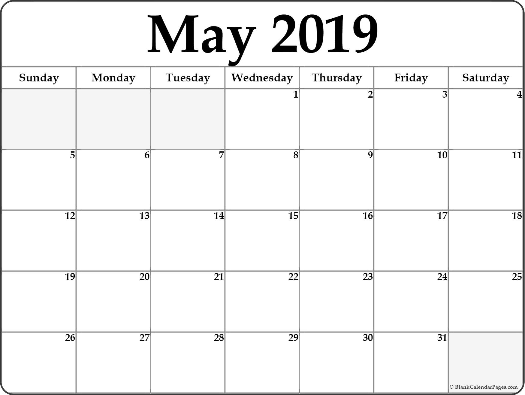 Calendar for May 2019