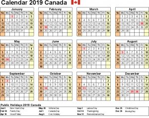 Canada School Holidays 2019