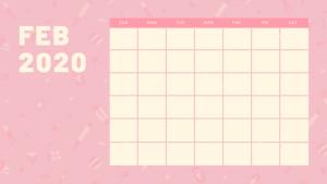 Cute February 2020 Calendar Pink Design