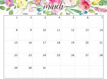 Cute March 2020 Blank Calendar