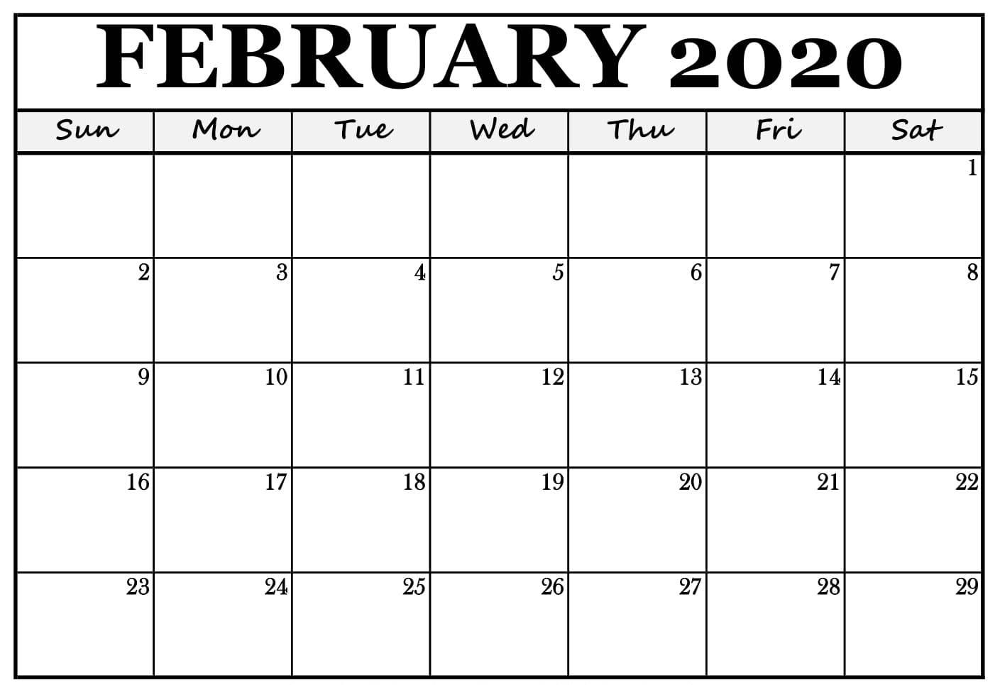 Editable February 2020 Blank Calendar