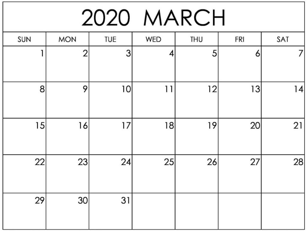 Editable March 2020 Blank Calendar Template