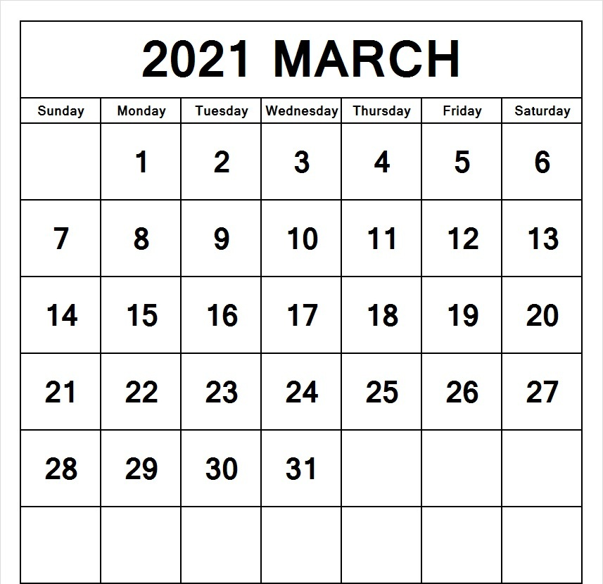 Editable March 2021 Calendar Word