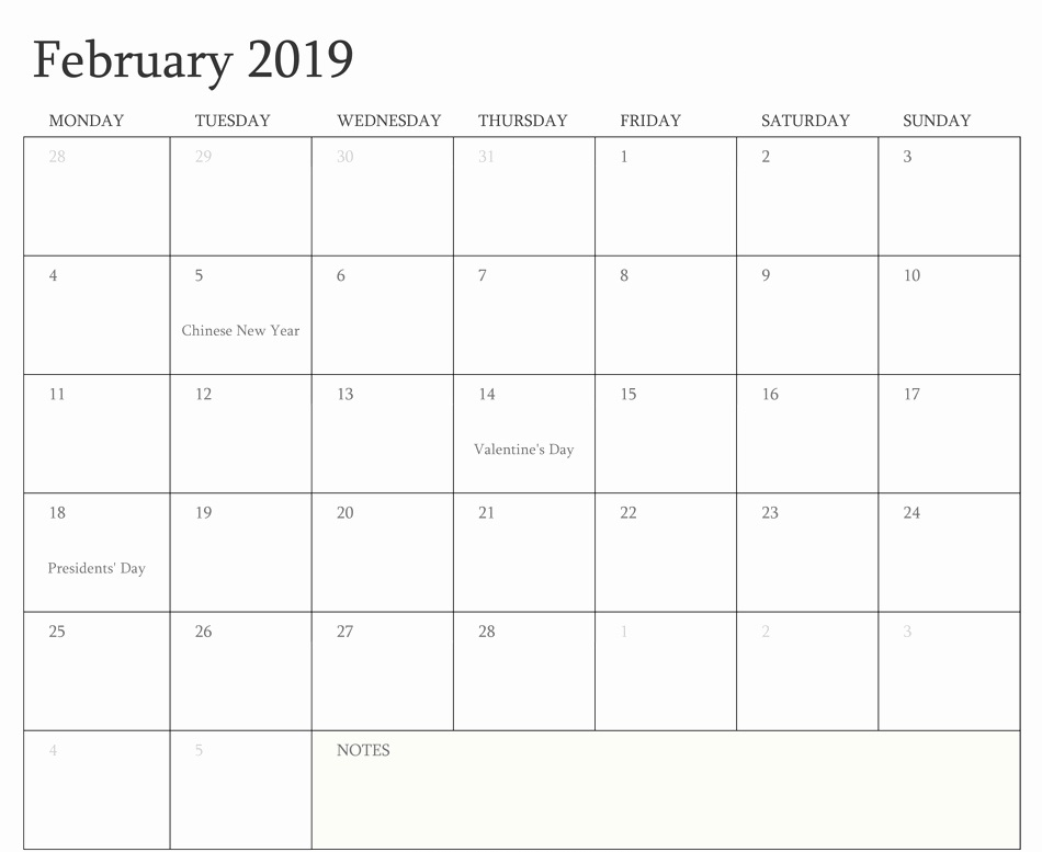 February 2019 Calendar A4 Size