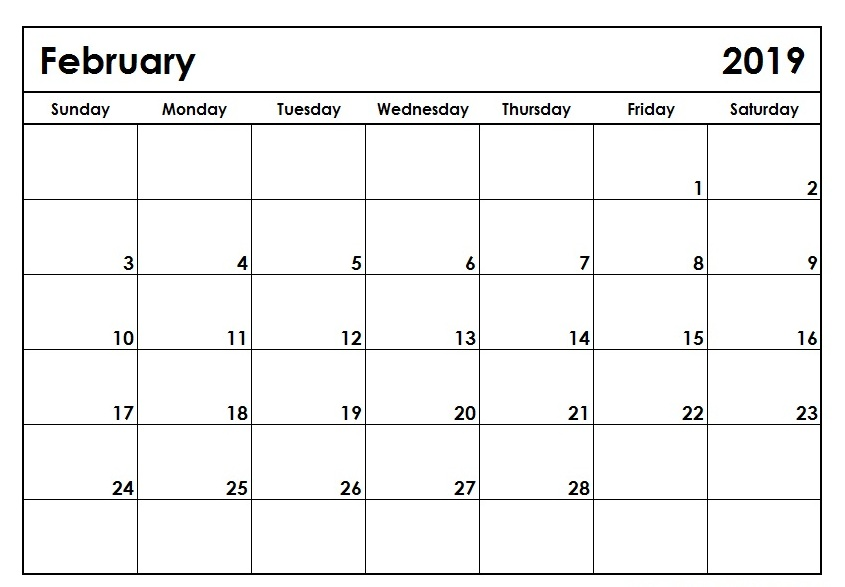 February 2019 Calendar Blank