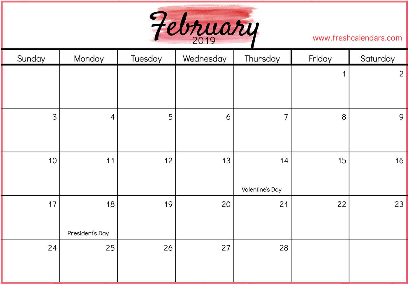 February 2019 Calendar with Holidays (Red)