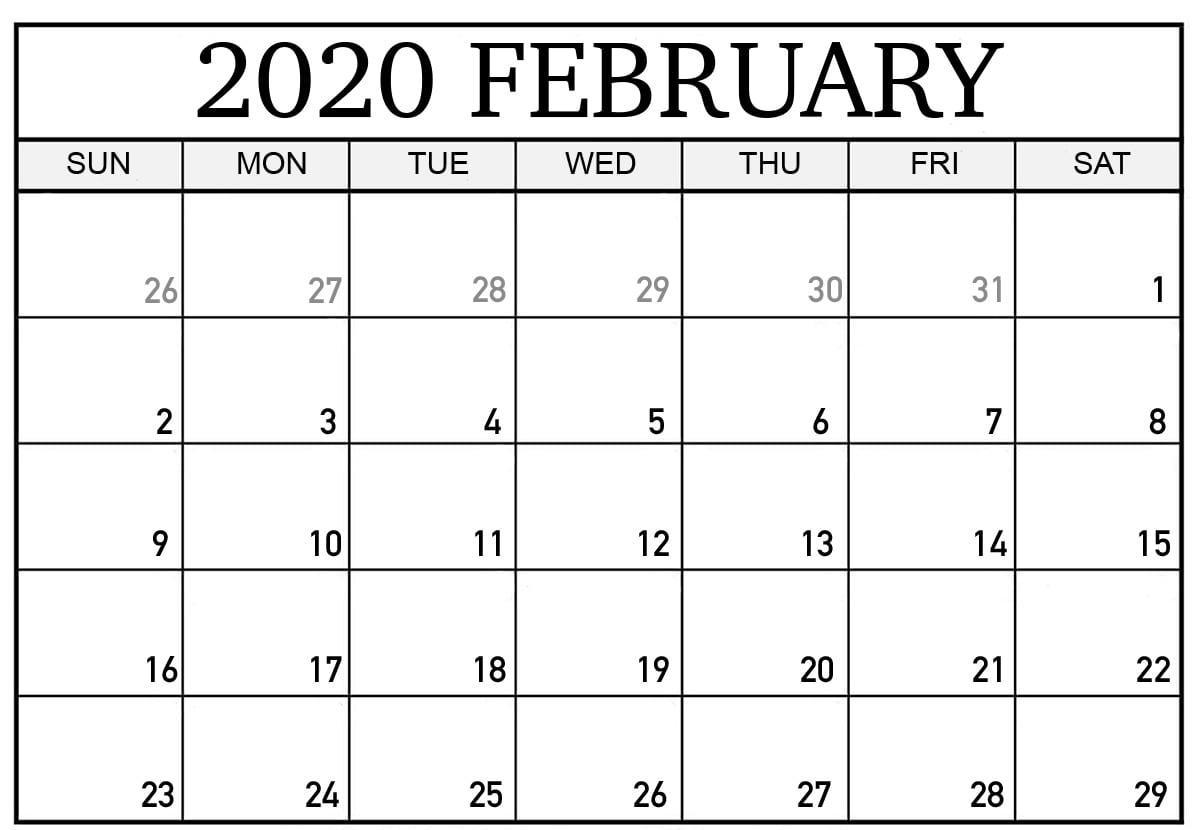 February 2020 Calendar A4 Size