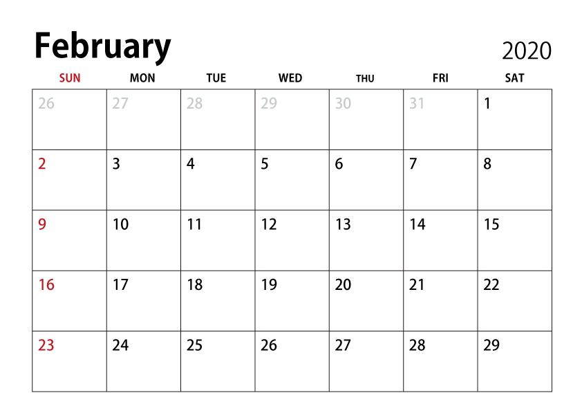 February 2020 Calendar Image