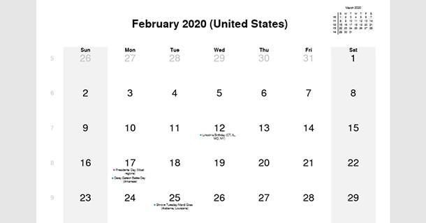 February 2020 Calendar USA