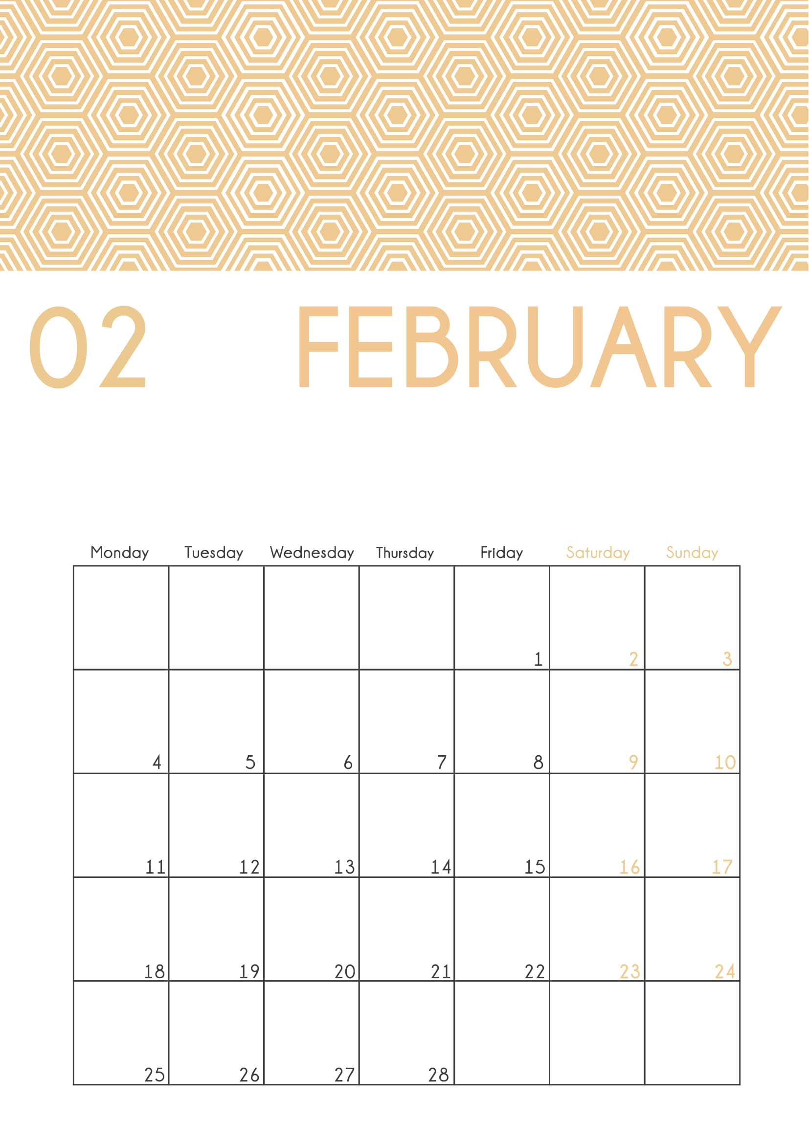 February 2020 Cute Calendar Printable