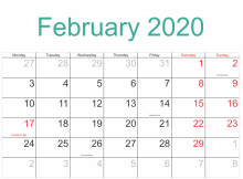 February 2020 US Holidays Template