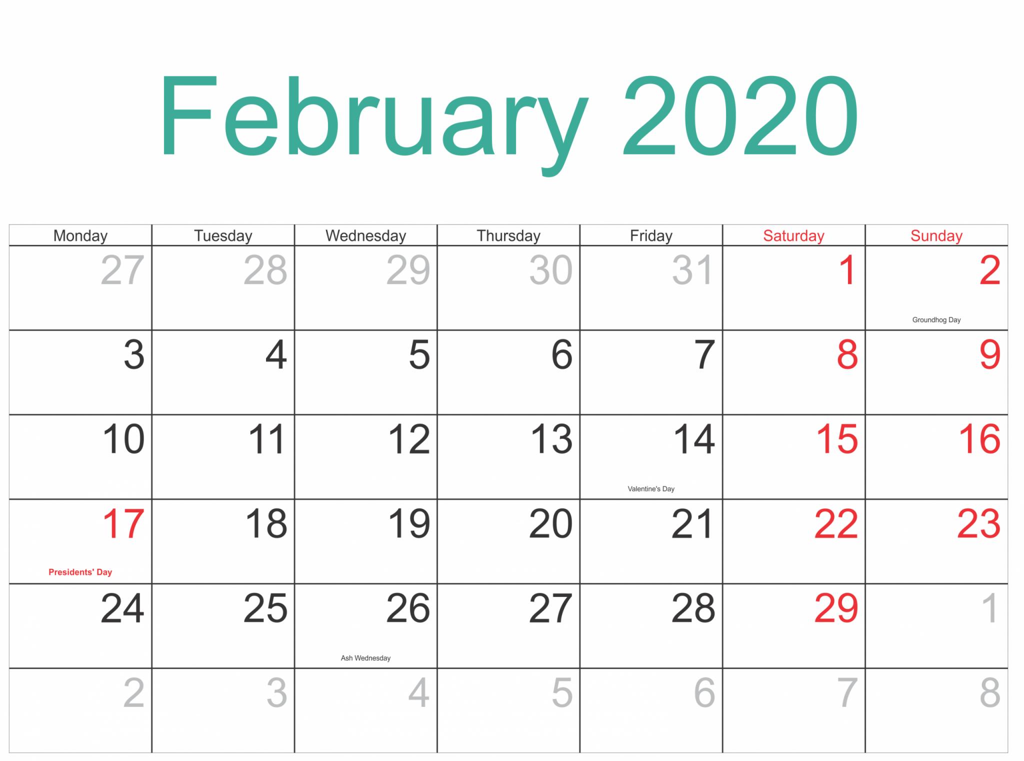 February 2020 US Holidays Template