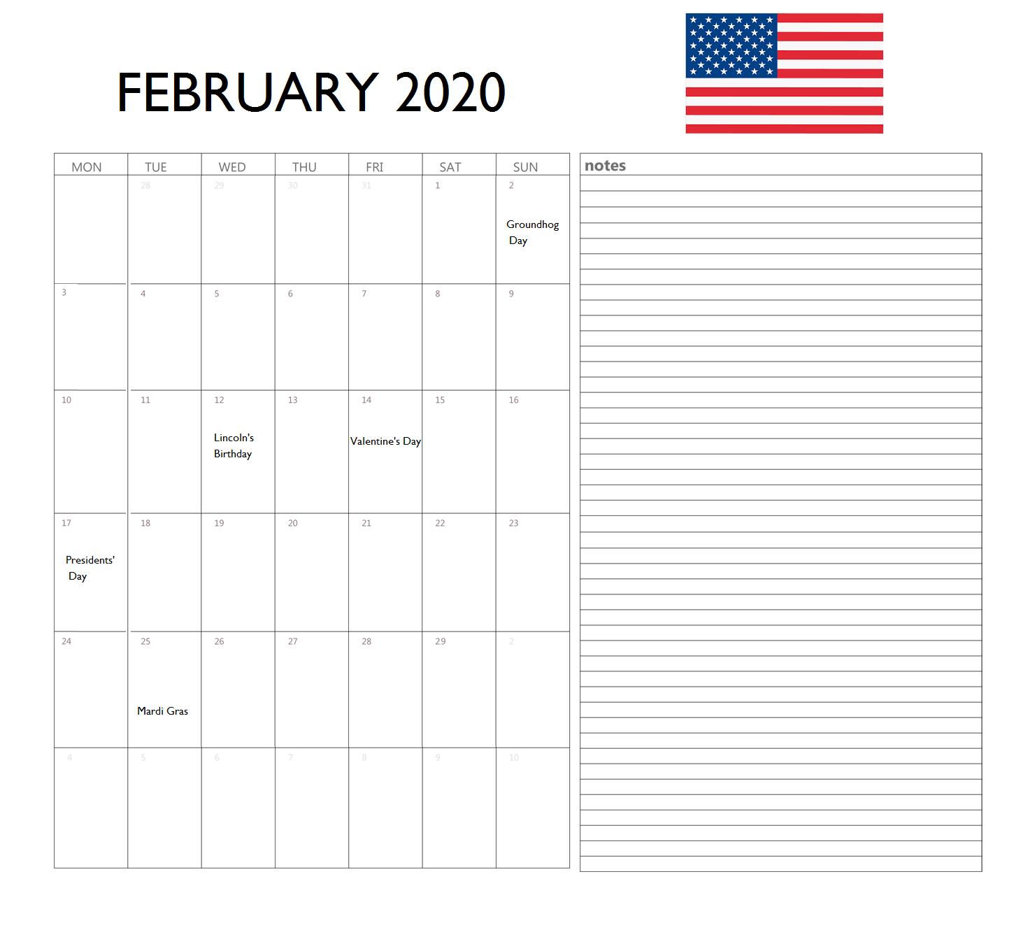 February 2020 USA Calendar