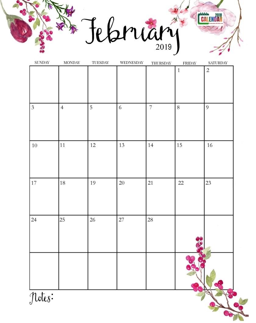 February Calendar 2019 Portrait