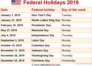 Federal Holidays 2019 in Canada