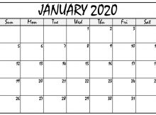 Fillable January 2020 Calendar