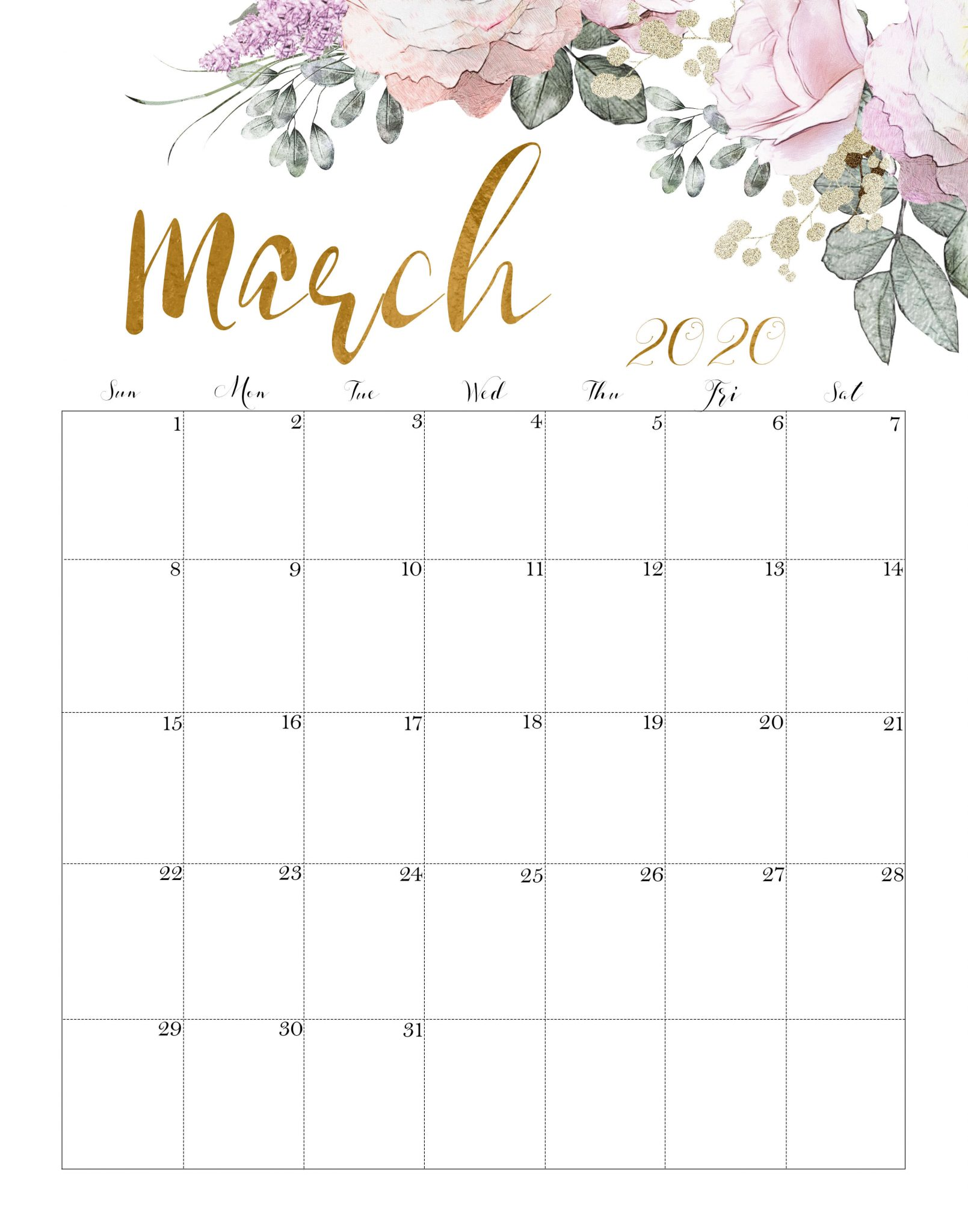 Floral March 2020 Calendar Printable