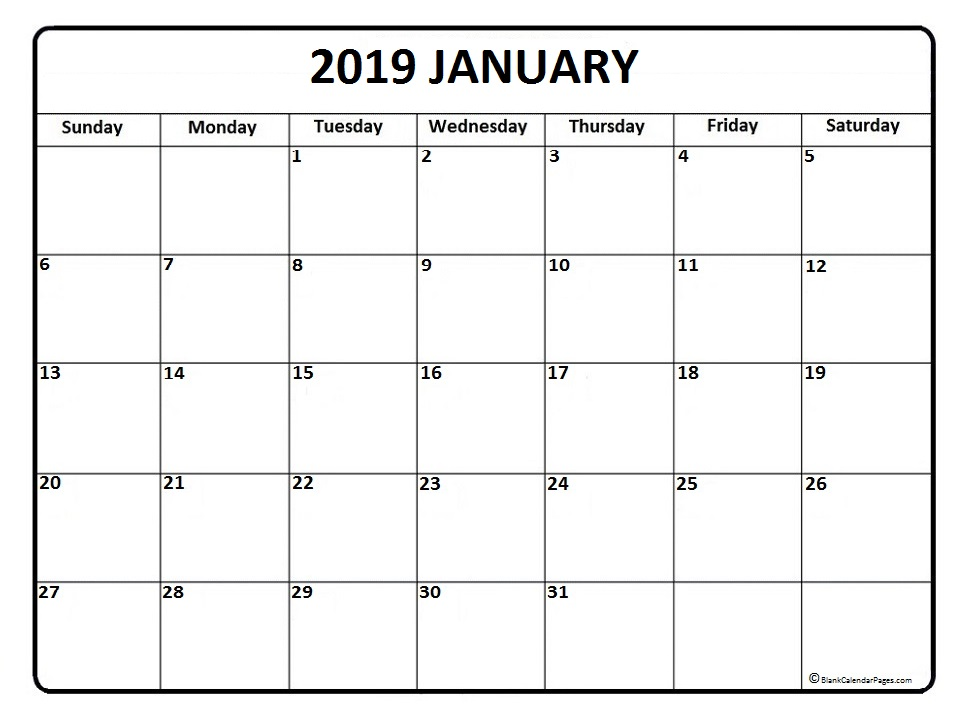graphic about Monthly Printable Calendars referred to as Printable Calendar January 2019 Every month Template