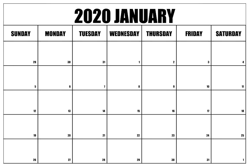 Free Printable January 2020 Calendar Portrait