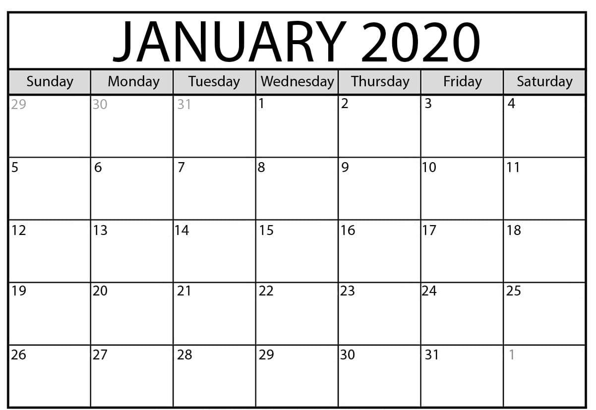 Free Printable January 2020 Calendar Xls