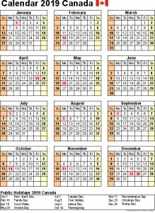 Free Printable Yearly Calendar 2019 Canada