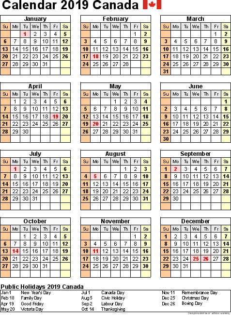 Free Printable Yearly Calendar 2019 Canada