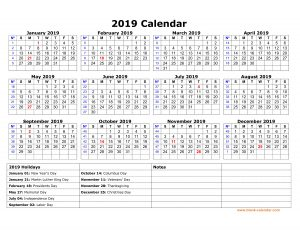 Free Yearly Holidays 2019 Calendar in UK