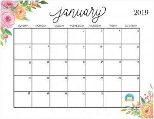 Jan 2019 Calendar free Printable