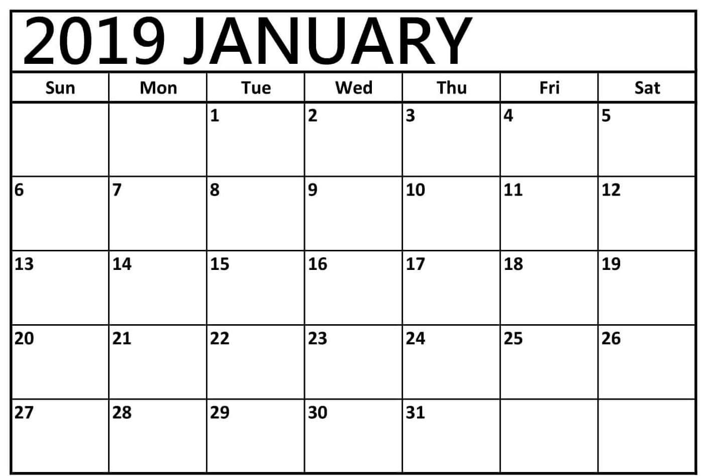 January 2019 Blank Calendar Download
