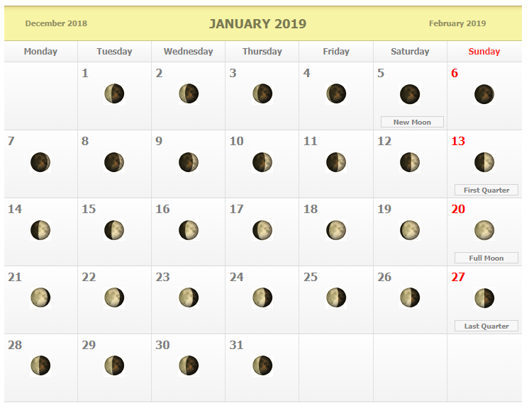 January 2019 Moon Phases Calendar