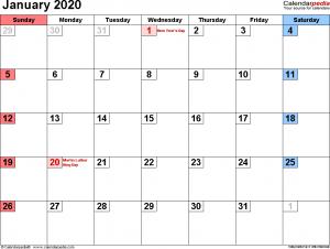 January 2020 Calendar Excel