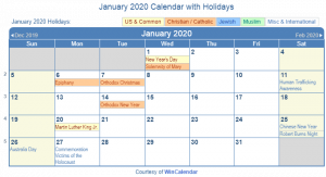 January 2020 Calendar Holidays