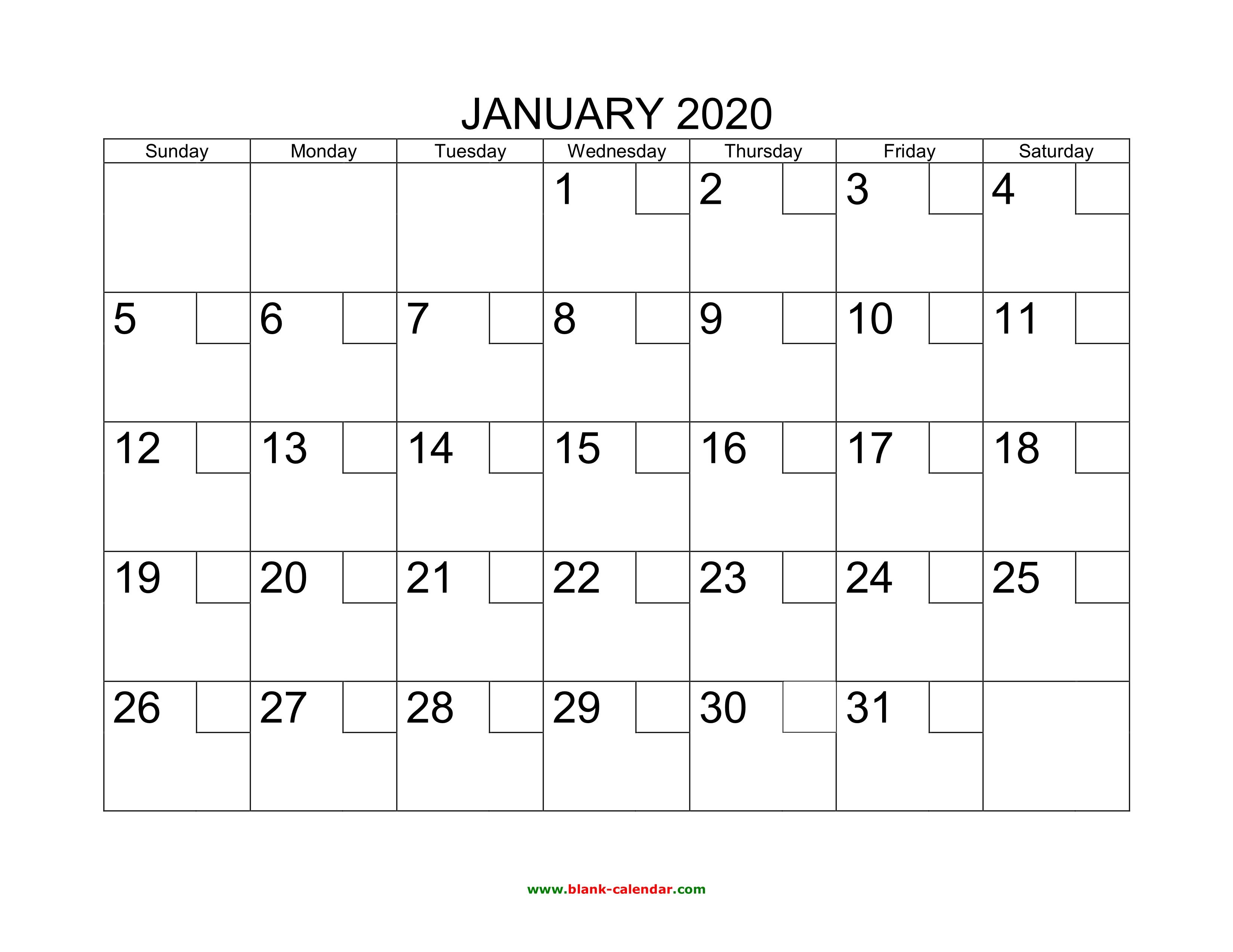January 2020 Calendar Planner