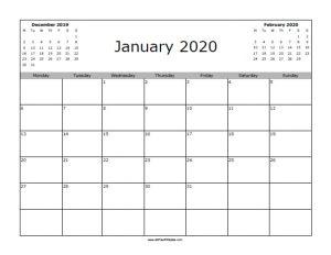 January 2020 Calendar Starting with Monday