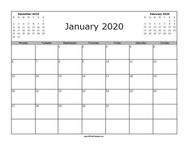 January 2020 Calendar Starting with Monday