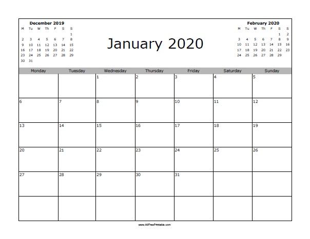 January 2020 Calendar Starting with Monday - Free Printable