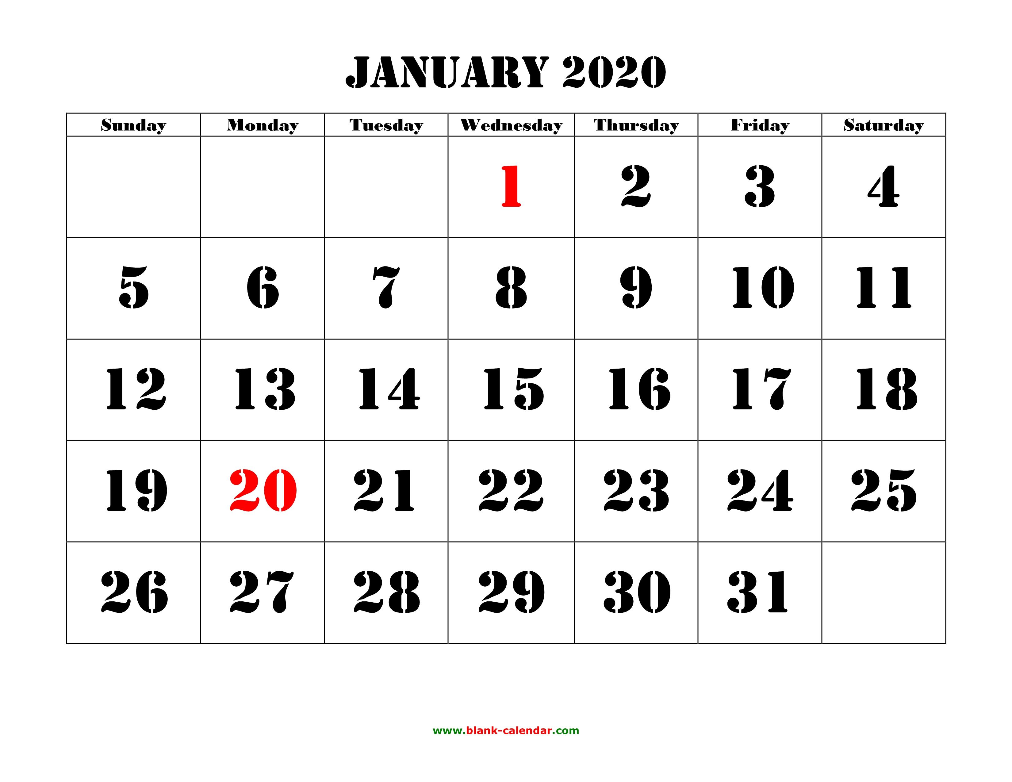 January 2020 Calendar Word