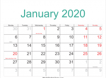 Printable January 2020 Calendar Canada.January Month Archives Free Printable Calendar Templates Blank Pdf