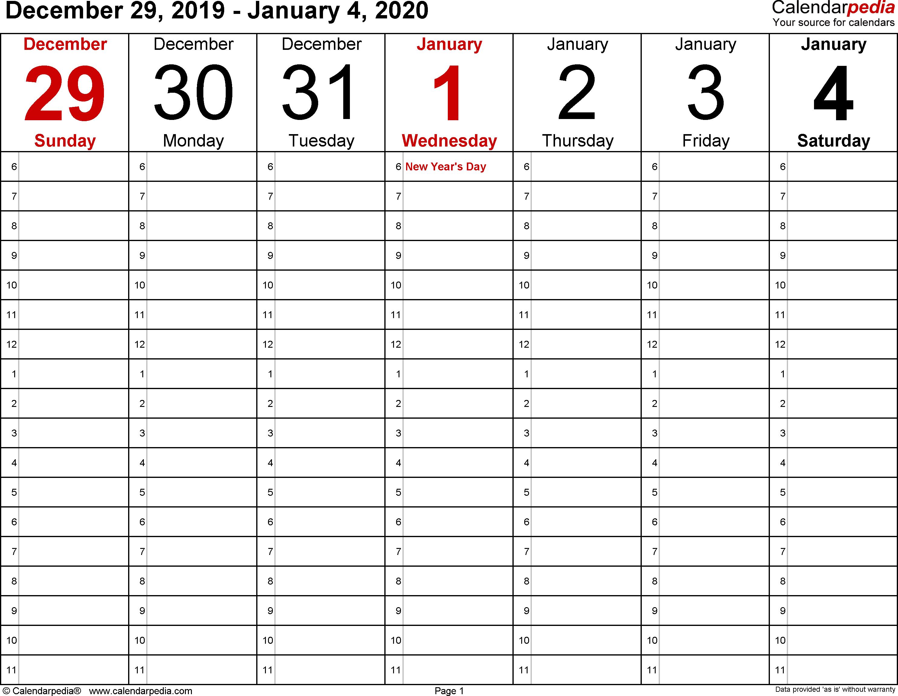 January 2020 Weekly Calendar