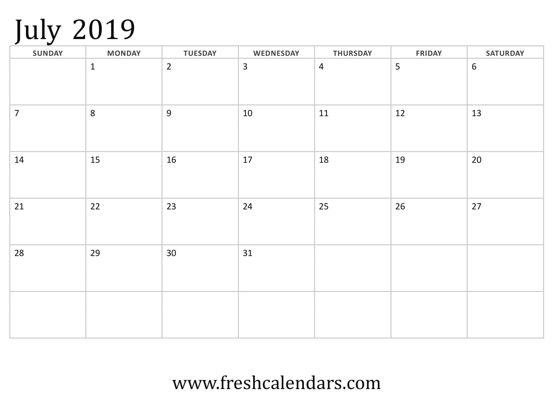 July 2019 Calendar Basic Template