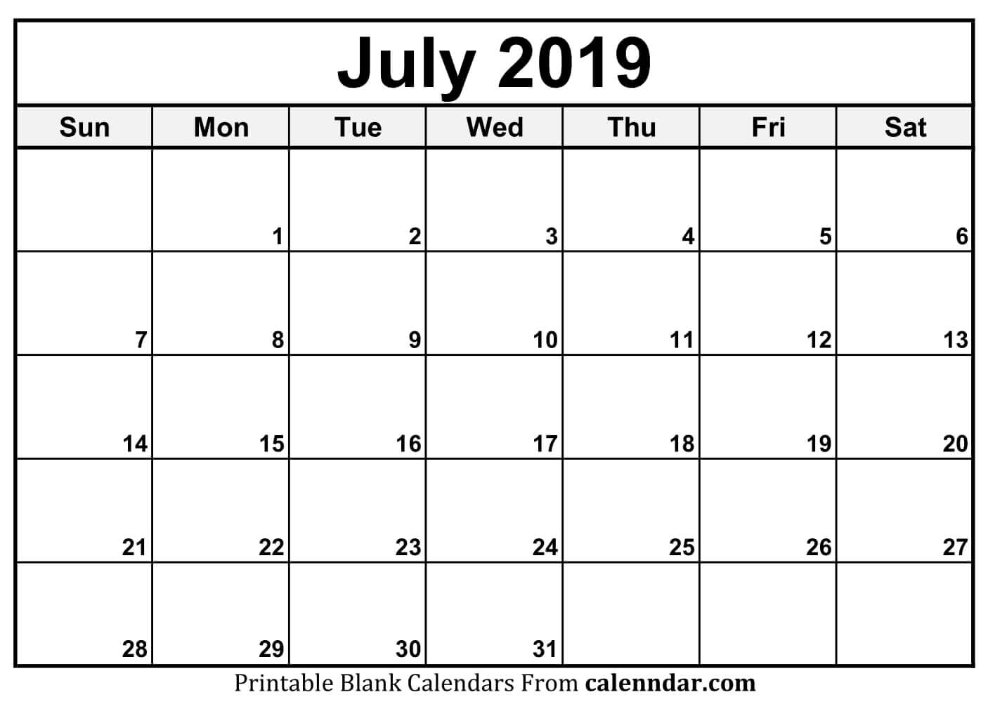 July 2019 Calendar Free Printable