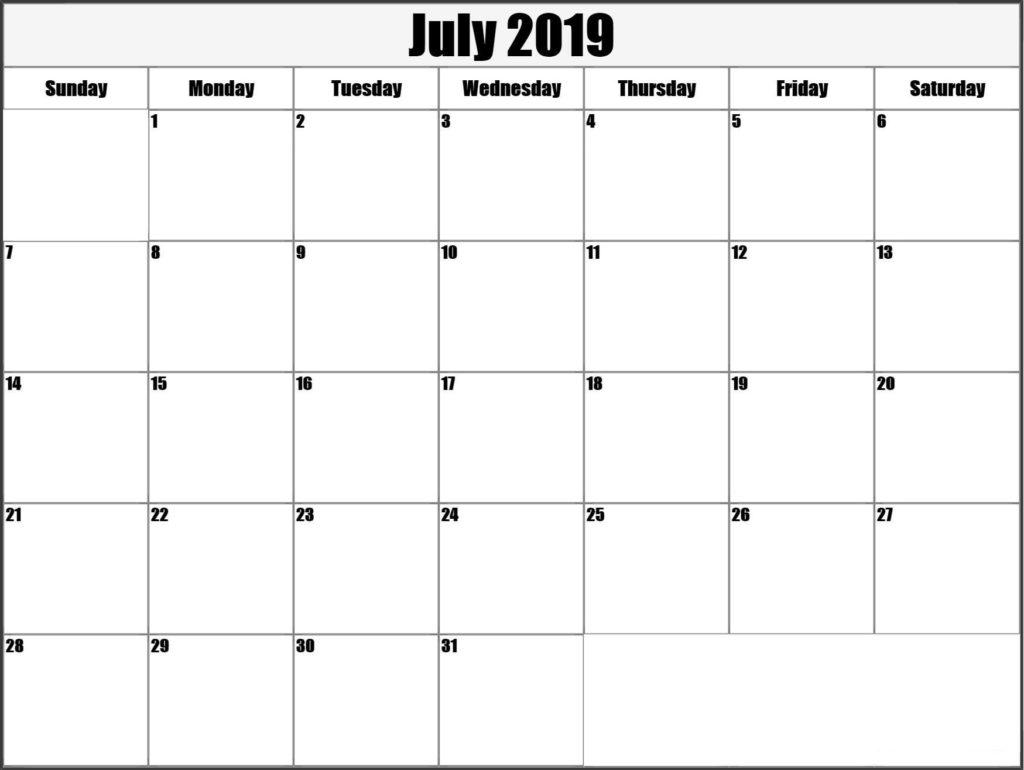 July Calendar 2019 Templates