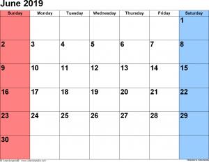 June 2019 Calendar PDF
