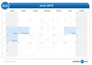June 2019 Calendar Templates